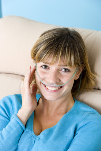 image depicting woman using oxygen and feeling better